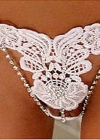embroidered thong w/rhinestones