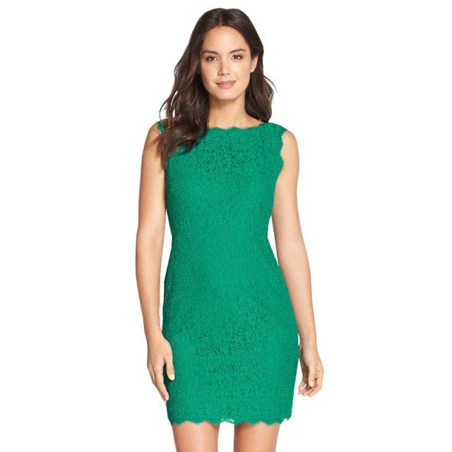 Elegant Women\'s Sleeveless Lace Bodycon Cocktail Dress w/Full Zipper ...
