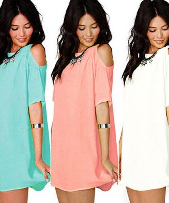 Semi Sheer Chiffon Cold-Shoulder Mini Dress Bikini Cover Up