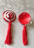 Red/White Tassels Nipple Stickers Karis-Closet.com