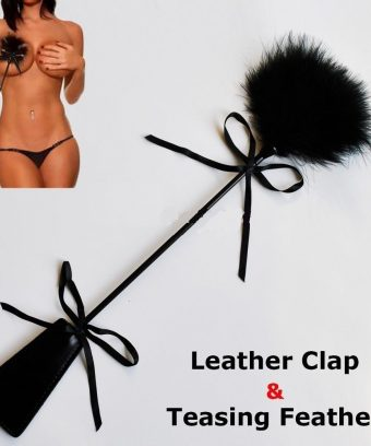 Leather Paddle and Feather Tickler in Black-BDSM-Tease Tool