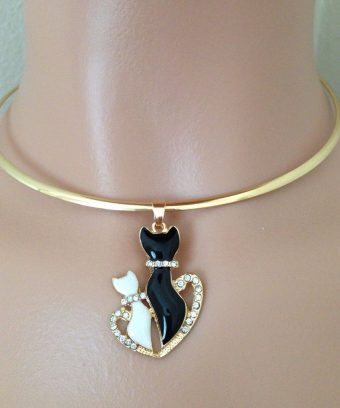 Cat Pair Solid Band Necklace