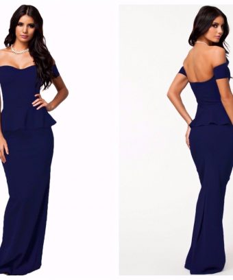 Peplum Drop Shoulder Maxi Dress ** www.karis-closet.com