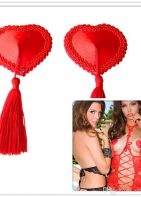 Satin Heart Shape Adhesive Pasties With Tassels