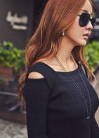 Bodycon Sweater Dress with Cold Shoulder Detail In Black or Gray