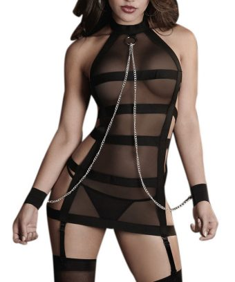 Sheer and Strap Bondage Garter Dress at www.Karis-Closet.com
