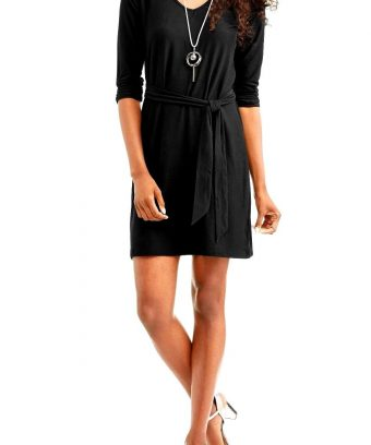 3/4 Ruched Sleeve Dress With V Neck In Above Knee Length