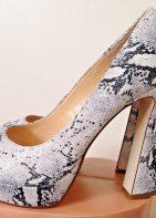Gianni Bini Daniella Snake Pattern Women's Leather Platform Open Toe High Heel