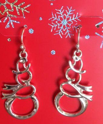 Silvertone Stylized Snowman Earrings