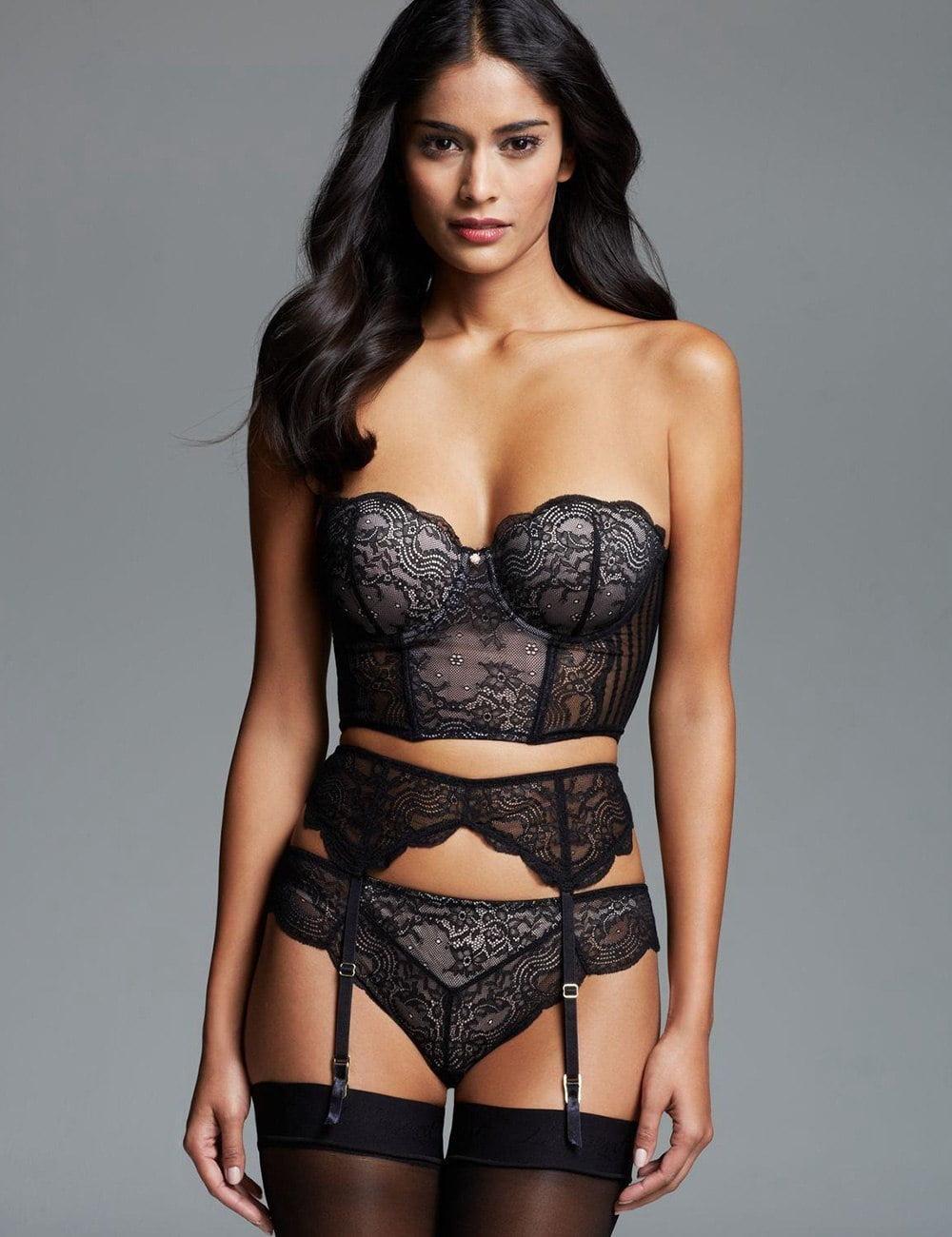 New 2017 women sexy lingerie hot Erotic Lingerie Sexy Valentine Sleepwear Plus size 3 Piece Delicate lace Bra Set R80457 4