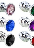 Stainless Steel Jeweled Butt Plug Sex Toy for Adult Men and Women