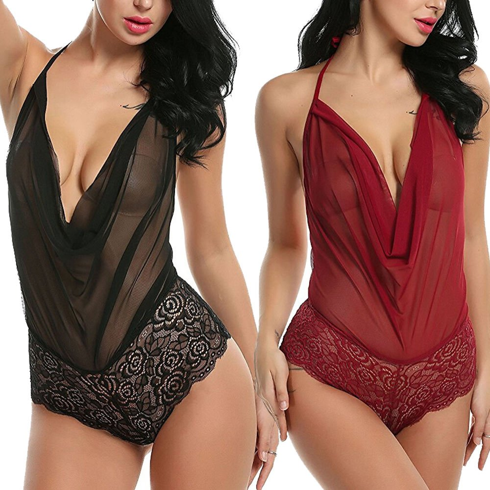 Women Sexy Lingerie Nightwear Underwear G String Lace Sling Sleepwear Teddies Bodysuits plus size 2