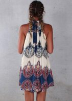 Lightweight Boho Style Printed Mini Sleeveless Dress