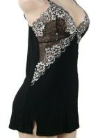 """Ladies Nighty-Black with Rose Netting-38""""-40"""" Bust With G-String Panties"""