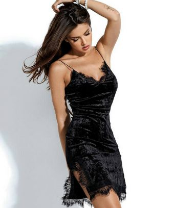 Lace Trim Velvet Cami Knee Length Black Bodycon Dress XL