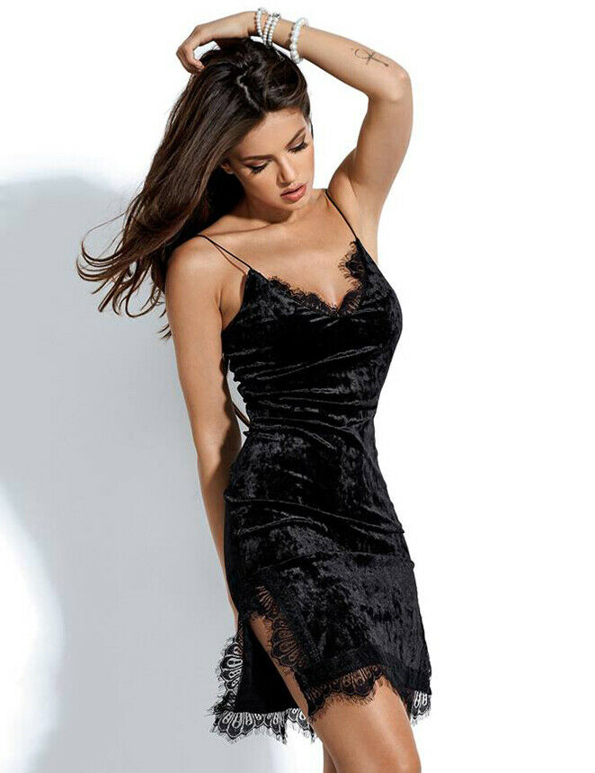 Lace Trim Velvet Cami Knee Length Black Bodycon Dress XL