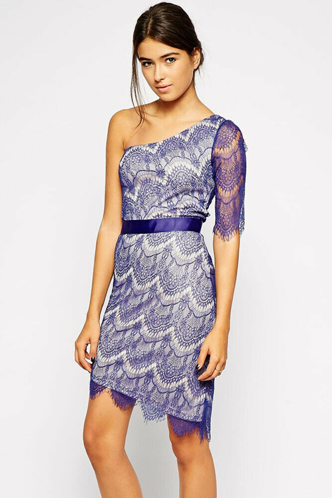 Spring or Summer Stylish Lined Purple Lace Dress