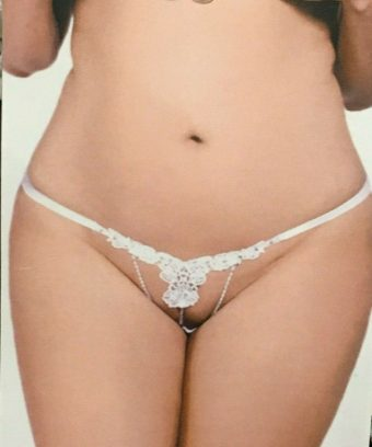 White Flower Weave Front Panties with Jewel Accent