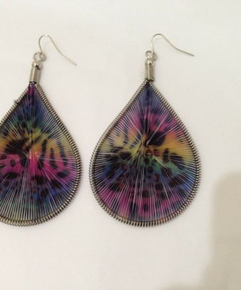 "String Art Multicolor Earrings-3-3/4"" Long-Silvertone-Teardrop Shape-Dangle"