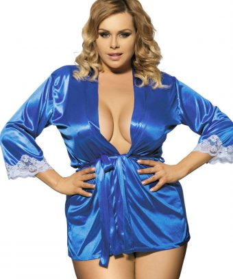 Ladies Short Satin Robe with White Lace Trim