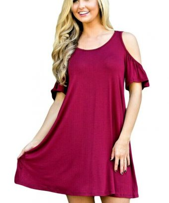Plus Size Cold Shoulder Summer Swing Dress