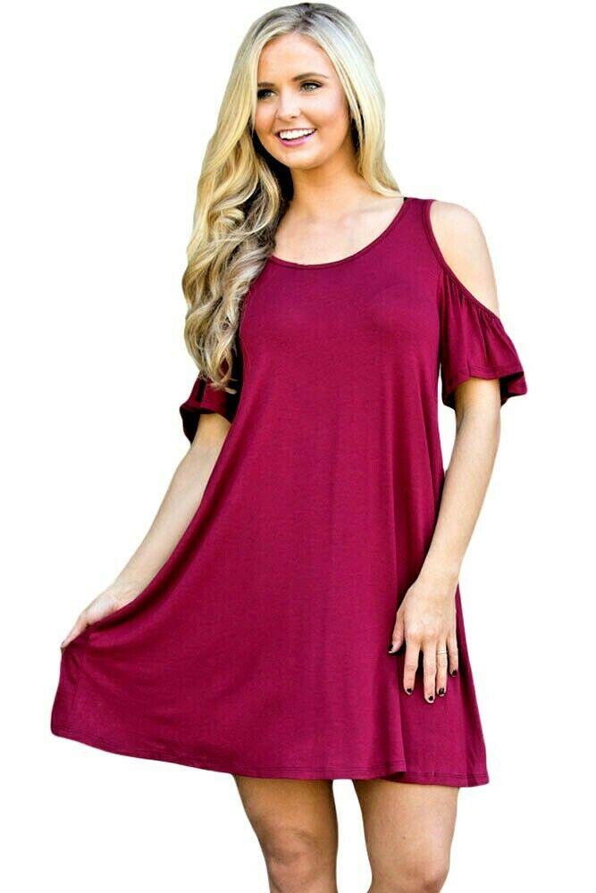 Plus Size Cold Shoulder Summer Swing Dress