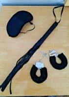 BDSM 3 PC Set- Whip, Blindfold, Handcuffs