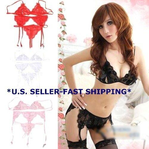 Lace Bra, Panties, Garter Belt And Fishnet Stocking Set