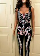 Dia De Los Muertos Bodysuit With Sugar Skull Tattoo Mask