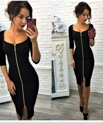 Front Zip Bodycon Dress