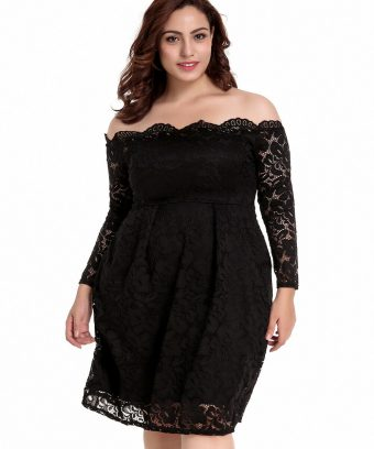 Plus Size Pullover, Off The Shoulder Lace Dress