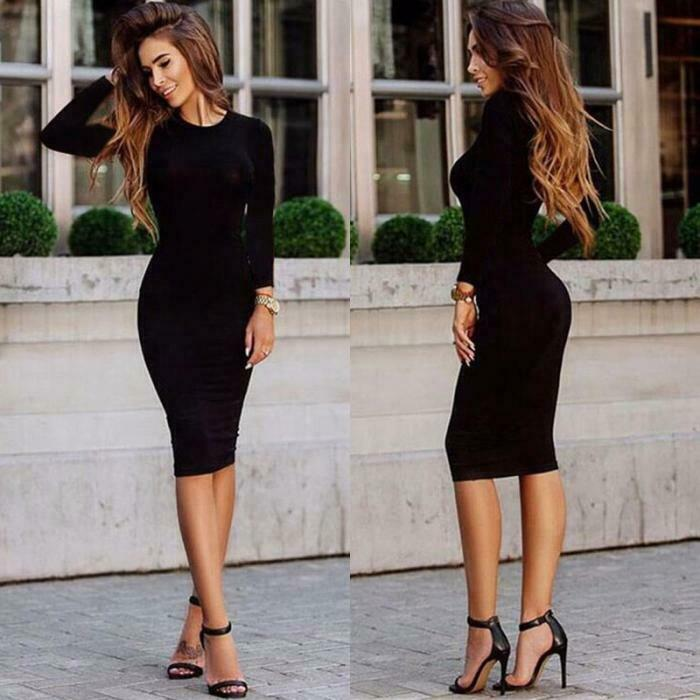 Midi Length Bodycon Long Sleeve Dress
