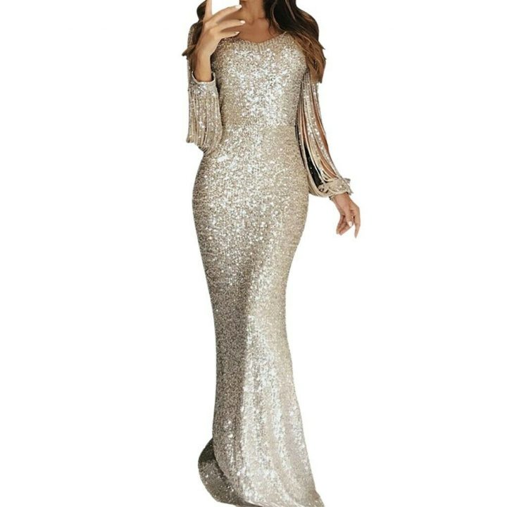 Holiday Sparkle Metallic Long Party Dress