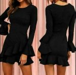 Little Black Dress With Cascading Ruffles & Bell Cuff Sleeves