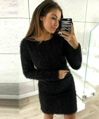 Super Soft Plush Mini Sweater Dress