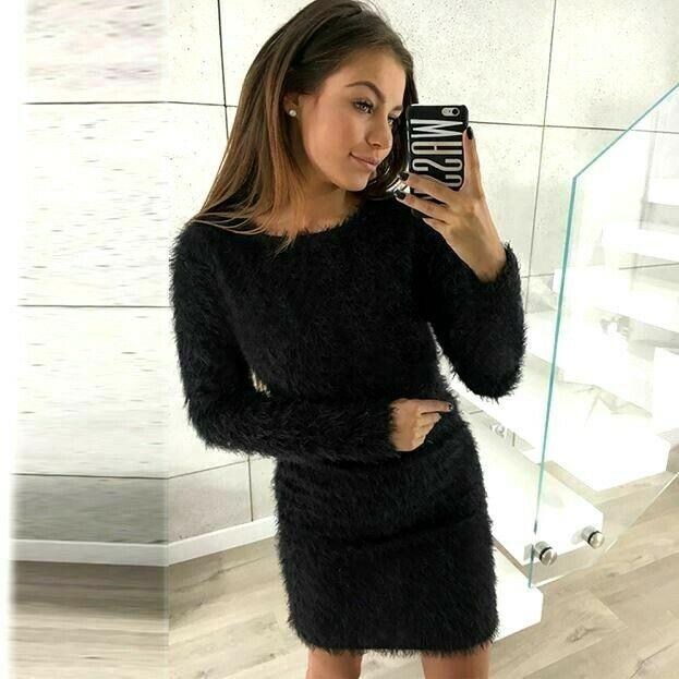 Super Soft Plush Mini Sweater Dress
