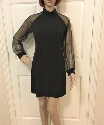Women Sheer Long Sleeve Dress in 2 Sizes