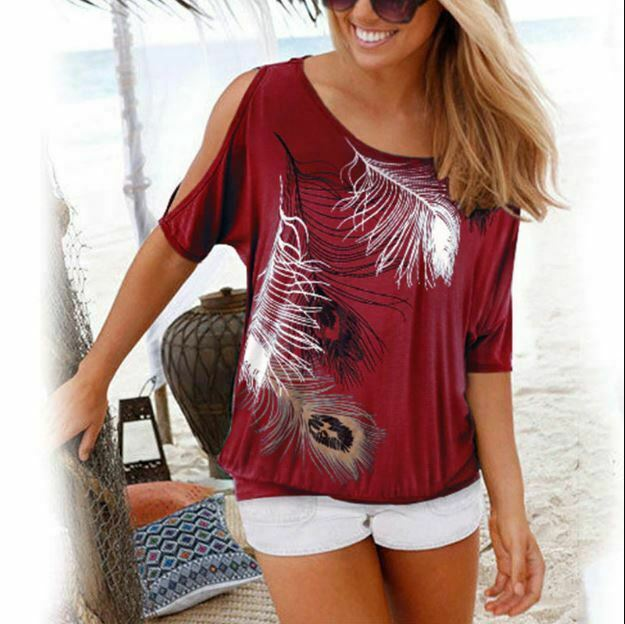 Cold Shoulder Women Tops-Feather Graphic